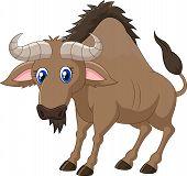 foto of wildebeest  - Vector illustration of Cartoon a Wildebeest isolated on white background - JPG