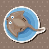foto of stingray  - Sea Animal Stingray Cartoon Theme Elements - JPG