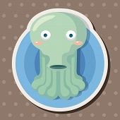 stock photo of squid  - Sea Animal Squid Cartoon Theme Elements - JPG