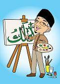 pic of muslim man  - Asian muslim man painting caligraphy on canvas - JPG