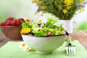 image of eat me  - Light organic salad with flowers - JPG