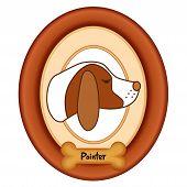 picture of bird-dog  - Pointer dog profile portrait in cherry wood mat frame - JPG