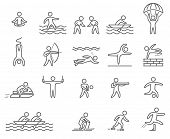 stock photo of shoot out  - Outline figure athletes - JPG