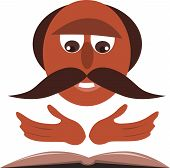 stock photo of priest  - A priest with mustache reading from the bible - JPG