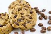 picture of chocolate-chip  - Chocolate chip cookies on white background with chocolate balls - JPG
