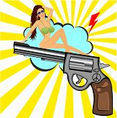 foto of revolver  - illustration of beautiful woman sitting on revolver - JPG