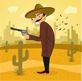 foto of crossed pistols  - illustration of cartoon mexican bandit with revolver wearing a huge sombrero standing in the desert - JPG