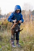 image of game-cock  - boy with black grouse on the field - JPG