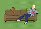stock photo of couch potato  - Sleeping man with chips and rear of cat on couch - JPG