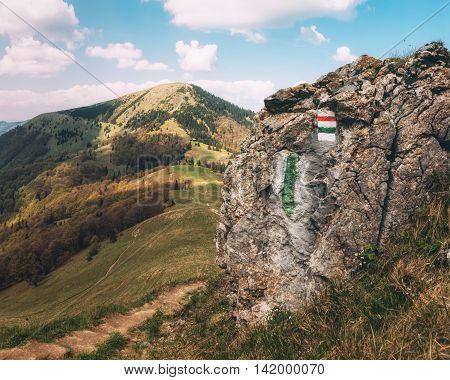 Cottage under Borisov and Mount Borisov viewed from Ploska in Velka Fatra National Park, Slovakia