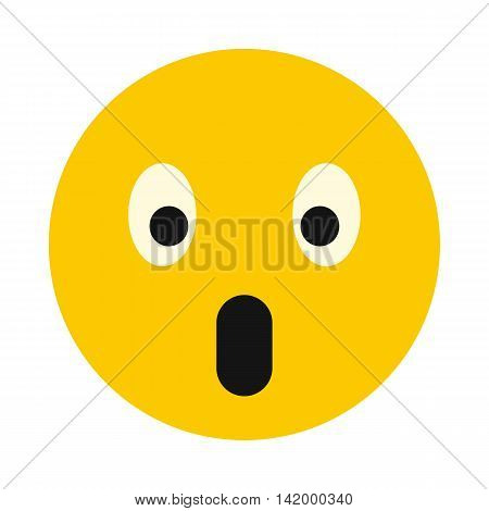 Surprised smiley icon in flat style isolated on white background. Facial expressions symbol