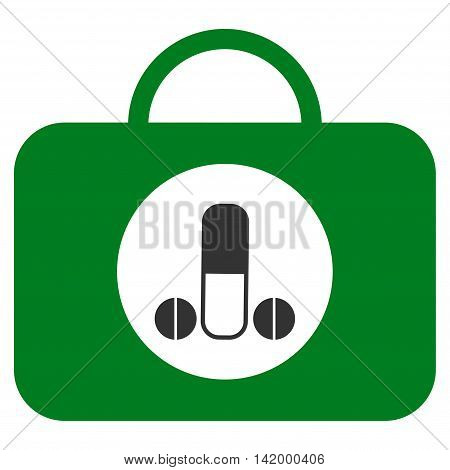 Male Sexual Toolbox vector icon. Style is bicolor flat symbol, green and gray colors, rounded angles, white background.