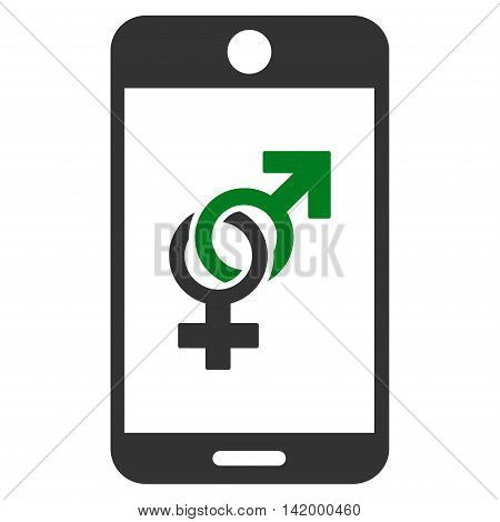 Mobile Dating vector icon. Style is bicolor flat symbol, green and gray colors, rounded angles, white background.
