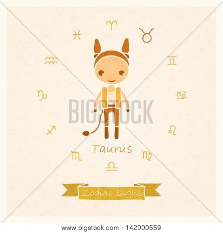 vector illustration of zodiac sign Taurus with texture of paper