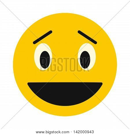 Laughing smiley face icon in flat style isolated on white background. Facial expressions symbol
