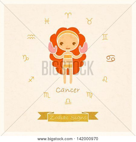 vector illustration of Cancer zodiac sign with texture of paper
