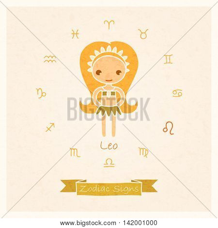 vector illustration of zodiac sign Leo with texture of paper