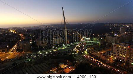 aerial of chords bridge at night in Jerusalem Israe