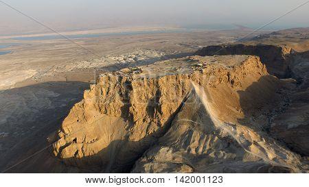aerial Massada Judean desert, dead sea area in Israel