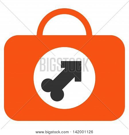 Male Erection Case vector icon. Style is bicolor flat symbol, orange and gray colors, rounded angles, white background.