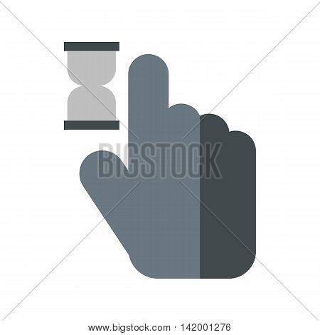 Cursor hand in anticipation icon in flat style isolated on white background. Computer and internet symbol