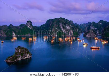 Ha Long Bay, a world natural heritage. in Quang Ninh province, Vietnam