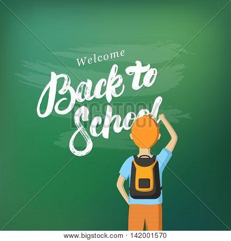Back to School hand written lettering. Schoolboy writing on the blackboard with chalk. Schoolchild standing at the blackboard. Vector flat illustration.