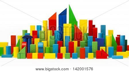 City Toy Blocks, Building Color Houses, Wooden Town, White Isolated with Clipping Path