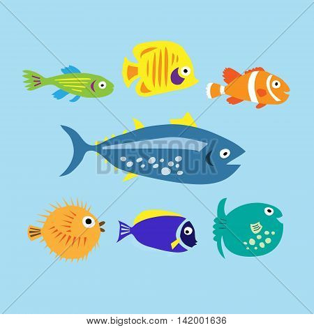 Set Of Cute Cartoon Colored Marine Fishes