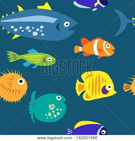 Seamless Background With Multi-colored Cute Marine Fish