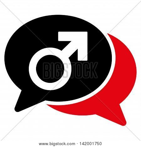 Male Chat vector icon. Style is bicolor flat symbol, intensive red and black colors, rounded angles, white background.