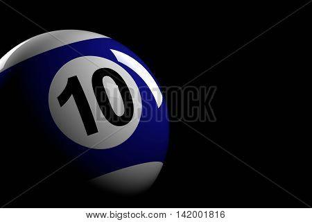 Pool Ball Number 10, 3D Rendering