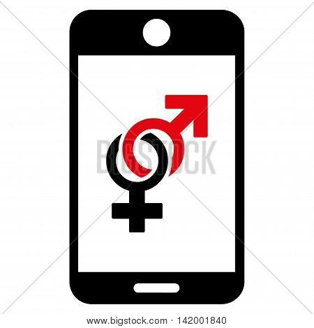 Mobile Dating vector icon. Style is bicolor flat symbol, intensive red and black colors, rounded angles, white background.