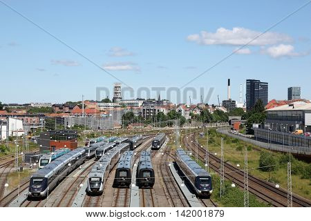 Aarhus, Denmark - June 11, 2016: View of the city of Aarhus with the railway station in Denmark