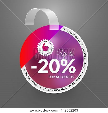 Wobbler design template. Sale event. Vector illustration.