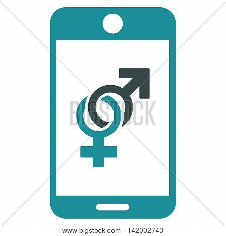 Mobile Dating vector icon. Style is bicolor flat symbol, soft blue colors, rounded angles, white background.