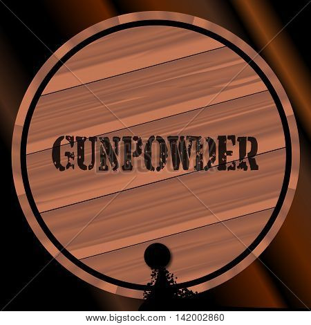 A keg of gunpowder with the name branded