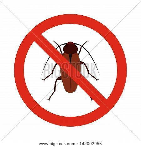 Prohibition sign bugs icon in flat style isolated on white background. Warning symbol