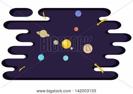 Vector solar system with planets. Concept of solar system for kids. Vector background.
