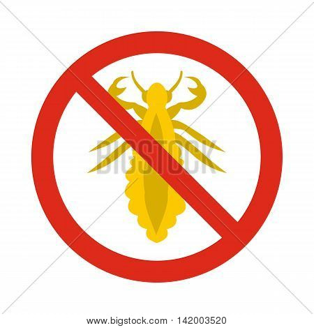 Prohibition sign insects icon in flat style isolated on white background. Warning symbol