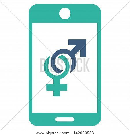 Mobile Dating vector icon. Style is bicolor flat symbol, cobalt and cyan colors, rounded angles, white background.