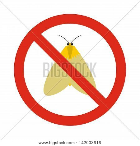 Prohibition sign moth icon in flat style isolated on white background. Warning symbol