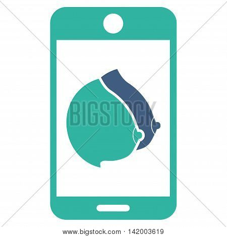 Mobile Erotic Tits vector icon. Style is bicolor flat symbol, cobalt and cyan colors, rounded angles, white background.