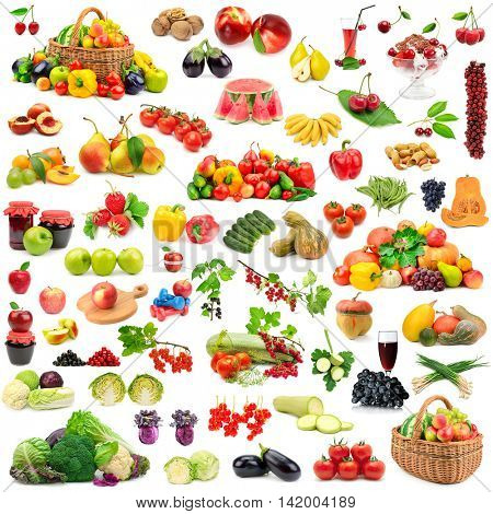 Large collection of fruits and vegetables healthy. Isolated on white background.