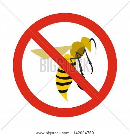 Prohibition sign wasps icon in flat style isolated on white background. Warning symbol