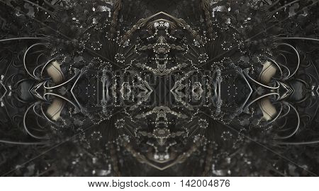 Four Fractal Make  Abstract Geometric Composition-3D Rendering