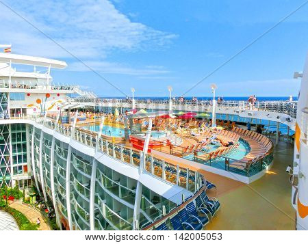 Barselona, Spaine - September 06, 2015: Royal Caribbean, Allure of the Seas sailing from Barselona on September 6 2015. The second largest passenger ship constructed behind sister ship Oasis of the Seas.