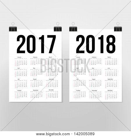 Calendar 2017 2018 starting from Sunday. Vector illustration