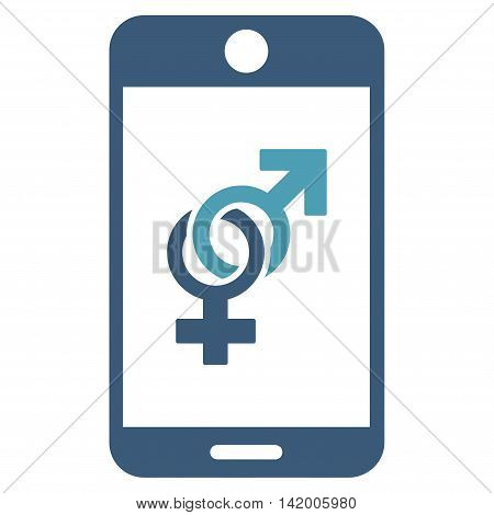 Mobile Dating vector icon. Style is bicolor flat symbol, cyan and blue colors, rounded angles, white background.