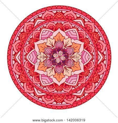 Mandala.Floral mandalas set.Coloring book. Outline Mandala .Red Pattern Weave design element